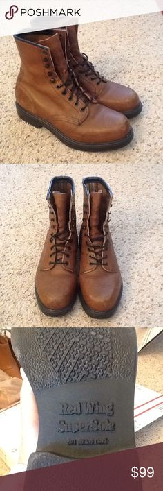 RED WING SUPER SOLE MENS BROWN LEATHER BOOTS, NWOT New without Tags, RED WING Super Sole Boots, mens sz 8. Pricey brown leather. Solid boots that will last forever. Will ship right away. Check out my other designer items Red Wing Shoes Shoes Combat & Moto Boots