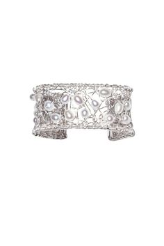 Pure silver wire tangled cuff bracelet with fresh water pearls. So chic & elegant.