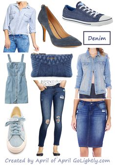 Friday Finds - Denim Trend 2014 from April Golightly shoes, bags, dresses, chambray shirt, jean skirt