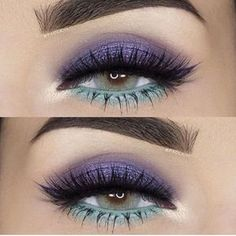 Gorgeous purple & mint eye make up look - perfect for adding colour to an all black outfit #eyez...x
