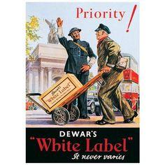 "Dewar's White Label Whisky ""Priority!"" Postcard"