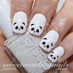 Panda Nail Art Cute Panda Face Nail Water Decals Water Slides - Beauty Home Nail Art Cute, Nail Art Diy, Easy Nail Art, Diy Nails, Cute Nails, Manicure, Kawaii Nail Art, Panda Nail Art, Animal Nail Art