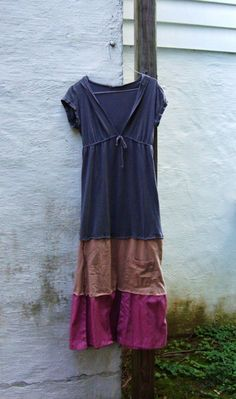 eco dress SALE/Eco Upcycled Hooded T Shirt Dress Great for Fall Layering