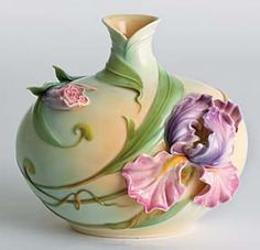 Windswept Iris Flower Design Sculptured Porcelain Vase