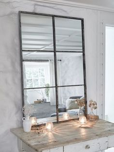Our loft style window mirror has an antique silver finish and works well in any room around the home. This portrait, six panel industrial mirror works especially well in a hallway or stairwell, and will add light to any space. Style At Home, Mirror Mirror, Grey Mirrors, Window Mirror Decor, Table Mirror, Metal Mirror, Mirror Ideas, Black Mirror, Dining Room