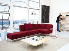 red sofa Design Within Reach modern living room