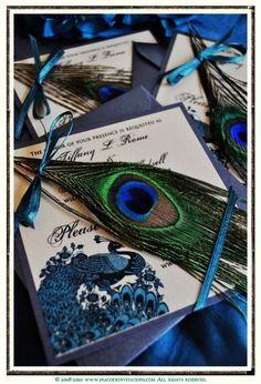 Peacock Themed Save the Dates | Feather invitation