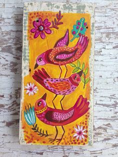 Original Folk Art Happy Birds on Rustic Wood Small Paintings, Indian Paintings, Abstract Paintings, Art Paintings, Bird Illustration, Cat Illustrations, Bird Quilt, Painting On Wood, Painting Tips