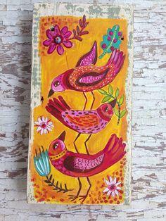 Original Folk Art Happy Birds on Rustic Wood on Etsy, $68.00