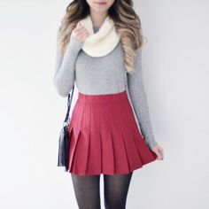Pleated Tennis Skirt - Red