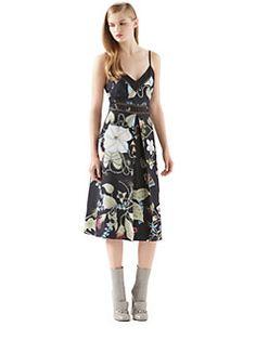 Gucci - Floral Knight-Print Silk Dress