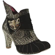 Black & Gold Irregular Choice Whimsical Miaow Ankle