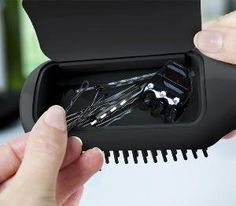 Flair Hairbrush with Storage. Whoever invented this better be filthy rich because they earned it.
