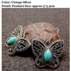 NWT Beautiful Butterfly Turquoise Drop Earrings Brand new gorgeous butterfly turquoise drop earrings. Size is approx 3 cm x 3.5 cm. Ancient silver. One size. Feel free to ask me any questions. Great discount on bundles and thanks for stopping by!! Namaste  Jewelry Earrings