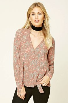 Forever 21 Contemporary - A woven top featuring a floral print, tie-neck, long sleeves with button cuffs, a button front, V-neckline, and a boxy silhouette.
