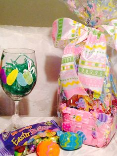 Easter basket with fun wine glass and candy Klink By Stephanie