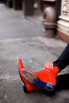 red orange shoes