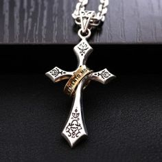 Retro Cross-shaped 925 Sterling Silver Men's Necklace With Ring