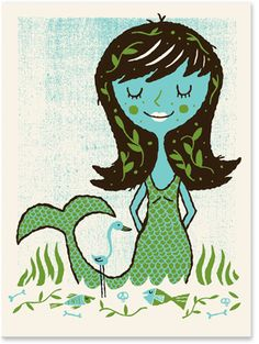 Nice! A different mermaid interpretation. I think it is screen print. Another postcard I would love to have.