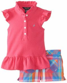 Nautica Baby-Girls Infant Flutter Sleeve Top and Plaid Short Set