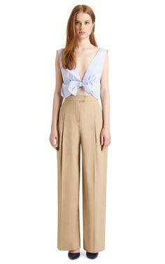 Tie Front Cotton Top by THAKOON Now Available on Moda Operandi