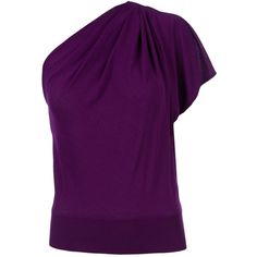 GIAMBATTISTA VALLI asymmetric shoulder top (3 335 PLN) ❤ liked on Polyvore featuring tops, blouses, shirts, purple, blusas, asymmetrical tops, purple shirt, giambattista valli blouse, purple top and purple blouse
