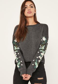 Missguided | Grey Floral Embroidered Sleeve Sweatshirt