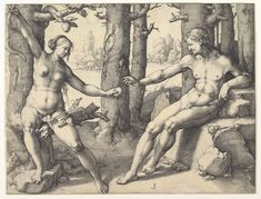 Adam and Eve c. 1530 Engraving, 190 x 248 mm Rijksmuseum, Amsterdam Web Gallery Of Art, The Falling Man, European Paintings, Rembrandt, Religious Art, Print Pictures, Figurative Art, Les Oeuvres, Amsterdam