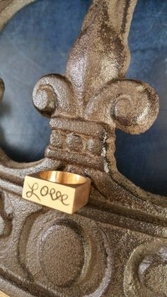 Handmade jewelry LOVE ring gift one of a kind cursive writting by LeuHarpaz on Etsy
