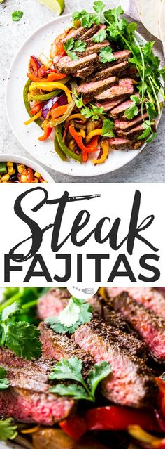 These zingy Steak Fajitas are all of your easy dinner dreams come true! Marinated in a simple yet delicious fajita spice mix, then quickly seared for medium-rare perfection - the flavour in these is unbelievable! You can even make the meat on the grill/BBQ in the summer! These are the BEST! | #recipes #easyrecipes #easydinner #dinner #beef #beefrecipes #steak #steakrecipes