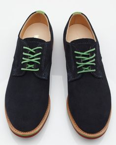 Derby oxford, a blue suede buck w. green laces and stitching, from Walk-Over $225 #shoes #bucks #oxford #blue_suede