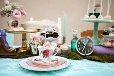 Place Setting from a Shabby Chic Alice In Wonderland Birthday Party via Kara's Party Ideas KarasPartyIdeas.com (44)
