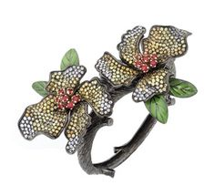 FLOWER BANGLE WITH SAPPHIRES -$4800.00