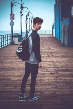 The pier was empty in the morning, but would be crowded and loud tonight. Male Models Poses, Male Poses, Photography Poses For Men, Portrait Photography, Teen Boy Fashion, Boy Poses, Photo Poses, Handsome Boys, Pretty Boys
