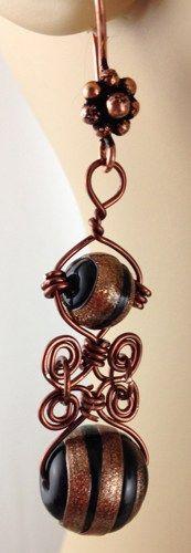 Black Copper Glass bead Handmade Wire Wrapped Earrings Copper Earhooks