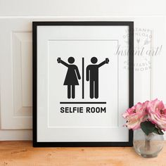 Funny bathroom wall art PRINTABLESelfie by TheCrownPrints on Etsy