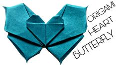 Origami Ball, Origami Star Paper, Origami And Kirigami, Origami Butterfly, Oragami, Butterfly Crafts, Origami Flowers, Origami Heart With Wings, Heart Wings