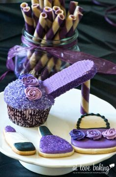 Purple shoe cupcake and accessories