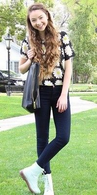 Meredith Foster: daisy shirt and mint combat boots