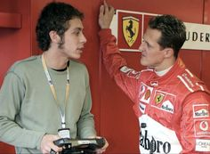"""I'm guessing the conversation went something like...""""Mike you need your 2 extra training wheels"""" - Valentino Rossi & Michael Schumacher"""