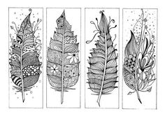 Book Marks Zentangle Inspired Hand drawn Colouring von CuriousType