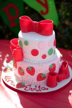 Strawberry Shortcake Cake By tavyheather on CakeCentral.com    Not for my boy, but a cute idea for my niece!