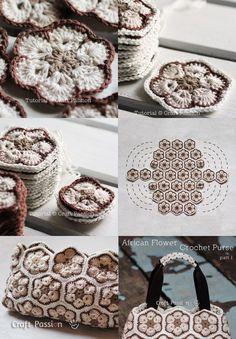 African Flower Crochet Purse... link for Part 1 (crochet):   http://www.craftpassion.com/2012/04/african-flower-crochet-purse-part-1.html/2    ... Part 2 (sewing):   http://www.craftpassion.com/2012/04/african-flower-crochet-purse-part-2.html/2