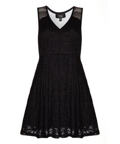 Look at this #zulilyfind! Black Lace Overlay A-Line Dress #zulilyfinds