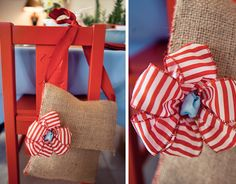 Good idea! with different color strap and flower and red side stitching??burlap bag @Lindi Salmond Salmond - Love The Day
