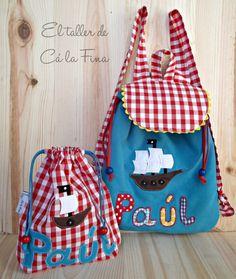 Conjunto de mochila de guardería y bolsita de merienda personalizado para Paúl #mochilasguarderia #bebes