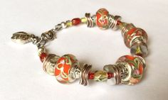 "Beaded bracelet - Christmas red, light green, silver, and copper, 7 - 7.5"", adjustable - pinned by pin4etsy.com"