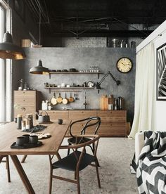 Vintage Industrial Decor Wooden and metal decor, loft design, industrial interior style - Summer Trends 2019 have arrived and if you're thinking about make some changes at your home, here you'll find some of the best good ideas to bright up your plac Industrial Kitchen Design, Industrial Interiors, Interior Design Kitchen, Vintage Industrial, Rustic Industrial Kitchens, Industrial Wall Art, Industrial Living, Interior Design Magazine, Interior Livingroom