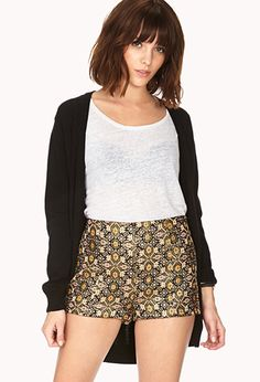 With a tuxedo jacket and black body suit with tights? Opulent Ornate Shorts | FOREVER21 - 2000072492