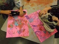 Shoe Prints with donated shoes. Looks awesome and just a little messy!